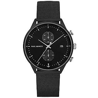 PAUL HEWITT Chronograph para hombres y mujeres Chrono Line Black Sunray - reloj de pulsera para hombre y mujer (negro /plata) con cronómetro Ref. 4251158737171
