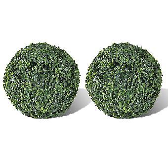 Artificial Leaf Topiary 35cm - Boxwood Ball (Set of 2)