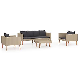 vidaXL 4 stuks. Tuin lounge set met pads poly rotan beige