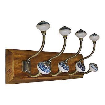 4 dubbele keramische pauw ontwerp kapstokken op houten basis