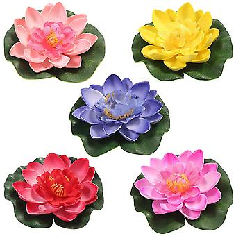 5pcs Artificial Water Lily Floating Lotus Flower Pond Home Wedding Decor 10cm