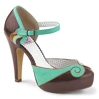 Pin Women's Shoes Up Teal-Brown Faux Leather
