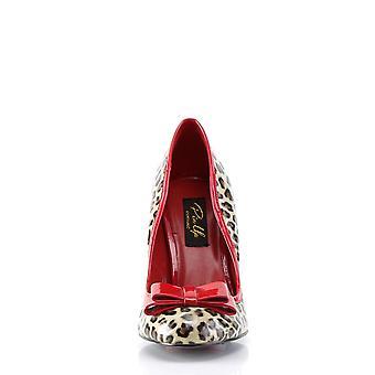Pin Women's Shoes Up Tan Pu-Red Pat (Cheetah Print)
