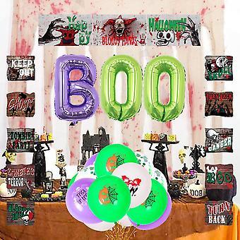 Halloween balloon decorative door curtain purple green boo skull pumpkin bat suit