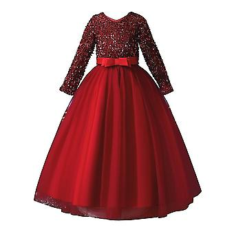 Lantejoulas Lace Girls Long Sleeve Party Dresse Red 4-5Years Old