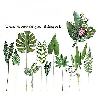 Leaves Plant Wall Sticker Home Decal (size:111cm X 96cm)