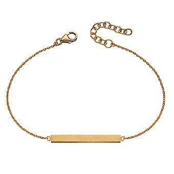 Início 925 Sterling Silver Womens Acabamento acetinado Engravable Horizontal ID Bar Comprimento da pulseira 17cm + 3cm