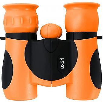 Binoculars 8x21 - Shockproof Compact Binoculars For Kids With High Resolution Optics(Orange)
