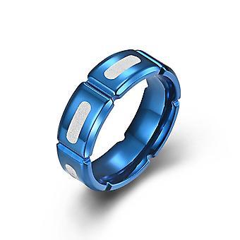 (Blauw-8) Eenvoudige roestvrij staal mannen vrouwen slotted roestvrij staal berijpte ringen