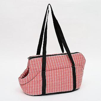 Outside Travel Puppy Dogs Breathable Carrying Plaid Shoulder Bags for Pet Dogs Cats(Pink)