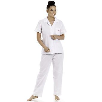 Camille Womens Roze Polka Dot Witte Polycotton Pyjama Set