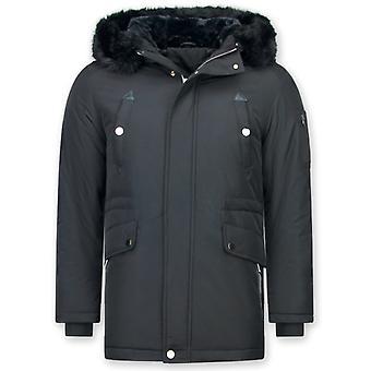 Lang Parka jakke - med pels krage - svart