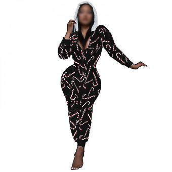 Women's Casual One Piece Christmas Printing Romper Sexy V Neck Hooded Jumpsuit