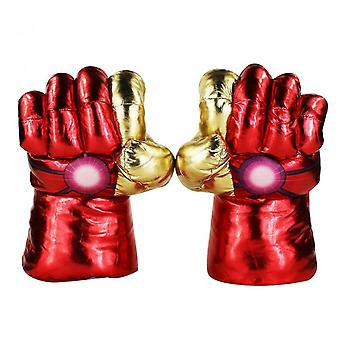 28-30cm Avengers Super Heros Spider-man Captain America Thanos Hulk Iron Man Plush Gloves Performing Props Toys Great Gift  A Pair Iron Man