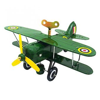 Nostalgic Tinplate Clockwork Chain Toy Photography Props Airplane Model Ms454