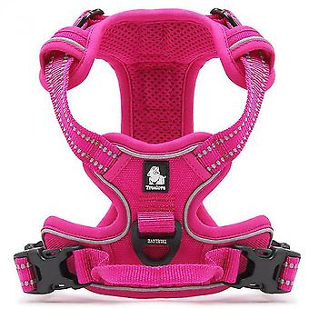 Pink l no pull dog harness reflective adjustable with 2 snap buckles easy control handle mz1036
