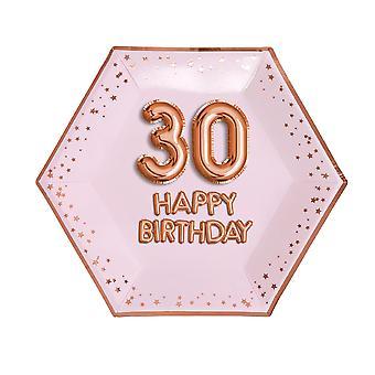 Glitz & Glamour Pink & Rose Gold Plate - Suuri - Ikä 30