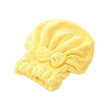 Bath towels washcloths hair drying towel head wrap with bow-knot shower cap for drying hair 25x30x3cm yellow