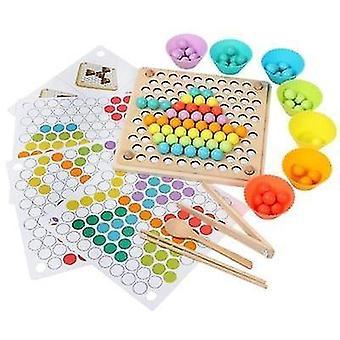 Věk 4+ děti hračky montessori dřevěné mozkové tréninky beads puzzle deska(1)