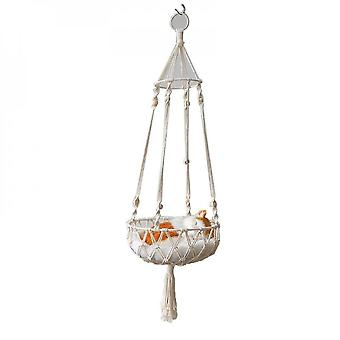 Macrame Cat Hængekøje hængende Pet Bed Boho Swing Nest vævet kat kurv hjem Dcor