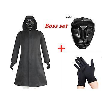 Uusi kalmari peli boss puku + naamio + käsineet, aikuisten tyyli xs-xxxl