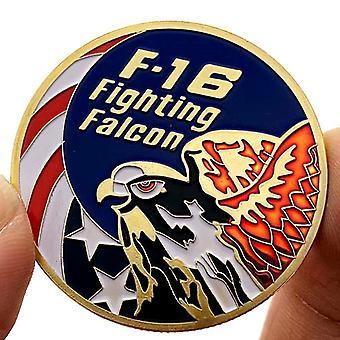 Merkki Amerikkalainen F16 hävittäjä Jet kullattu mitali lahja käsityö kultakolikolla muistokolikolla