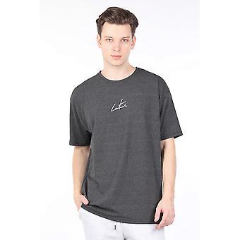 Menns Mørkegrå Trykt Crew Neck T-skjorte
