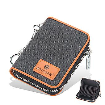 Credit Card Wallet, Zipper Card Cases Holder For Men Women, Rfid Blocking, Key Chain, Compact Size Black