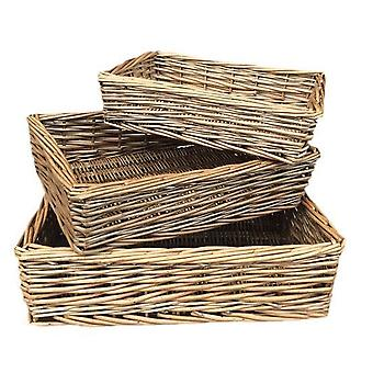 Antique Wash Rectangular Straight-Sided Wicker Tray Set of 3