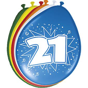 Colorful balloons balloon number 21 birthday 8 St. decoration balloons party