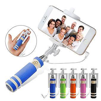 (Blue) BLU Pure XR Mini Selfie Stick Mobile Phone Monopod Built-in Remote Shutter + Adjustable Smartphone Adapter