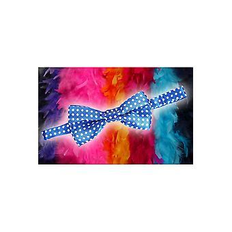 Buer og binder Bow tie blå med hvide prikker