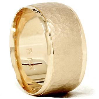 Gehämmert abgeschrägte Hochzeit Band 14K Gelb Gold