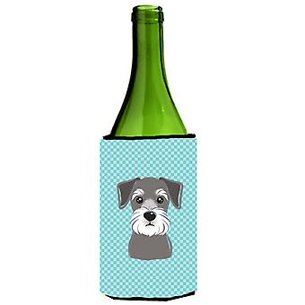 Checkerboard Blue Schnauzer Wine Bottle Beverage Insulator Hugger
