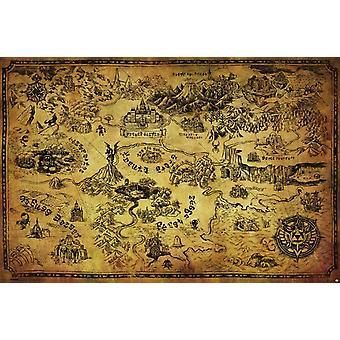 زيلدا-طباعة الملصقات ملصق خريطة