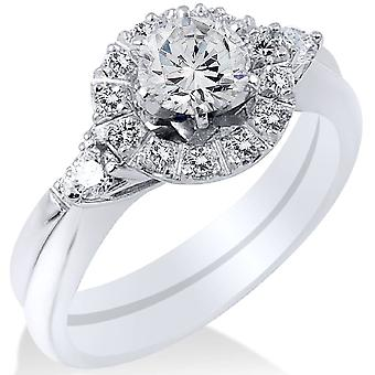 1/10ct הילה יהלום 3-גלען טבעת אירוסין 14 קאראט לבן זהב בסיבוב חתונה סט