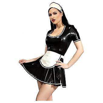 Vestover bundet anstendig Maid Latex gummi Uniform.