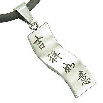 Amulet Good Luck, Magic Protection Pendant on Rubber Silver Cord