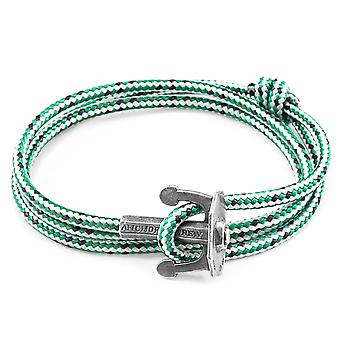 Anchor & Crew Green Dash Union Anchor Silver and Rope Bracelet