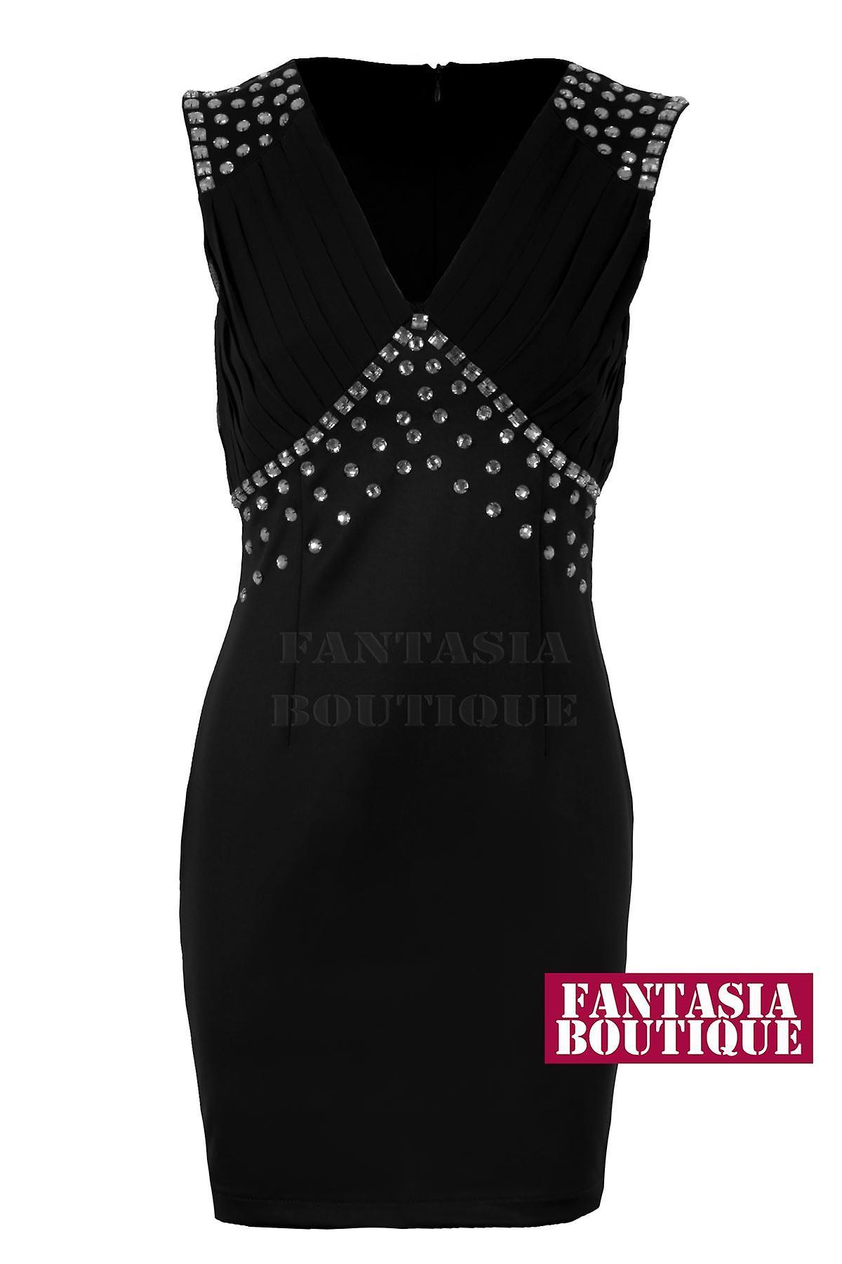New Ladies Sleeveless V Neck Diamante Women's Bodycon Dress