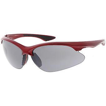 Sports Semi Rimless TR-90 Wrap Sunglasses Slim Arms Neutral Colored Lens 77mm