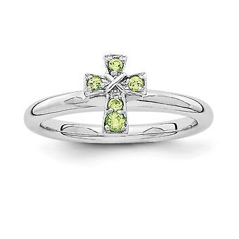 2,25 mm 925 Sterling Silber Rhodium vergoldet stapelbare Ausdrücke Rhodium Peridot religiösen Glauben Kreuz Ring Schmuck Geschenke