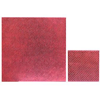 iStyle Set of 4 Metallic Faux Leather Placemats and Coasters, Red