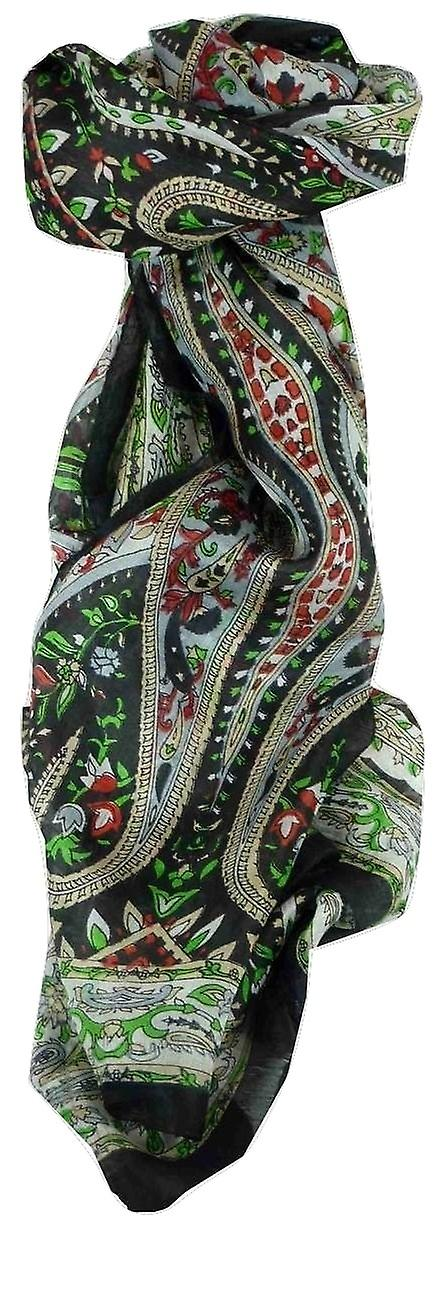 Mulberry Silk Traditional Long Scarf Ikna Black by Pashmina & Silk