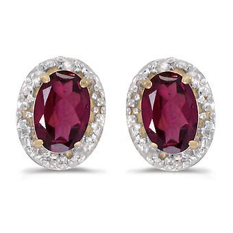 LXR 10k Yellow Gold Oval Rhodolite Garnet and Diamond Earrings 0.98ct
