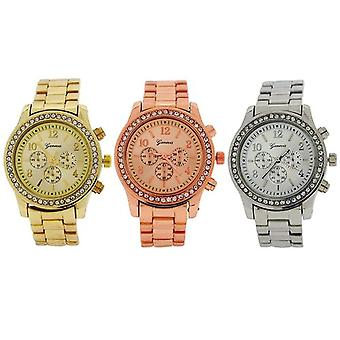 Genf 3 Set Silvertone, Goldtone & Rose Goldtone Ladies Boyfriend Dress Watch