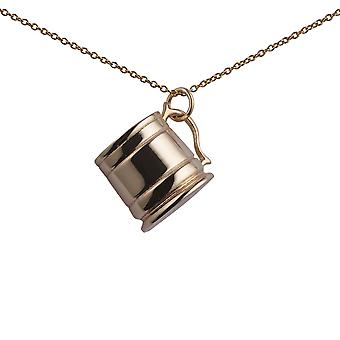 9ct Gold 15x20mm Tankard Pendant with a 1.1mm wide cable Chain 20 inches