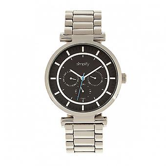 Simplify The 4800 Bracelet Watch w/Day/Date - Silver/Black