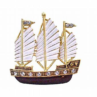 Hand Painted in White & Antique Brown & Golden Sail Boat Brooch