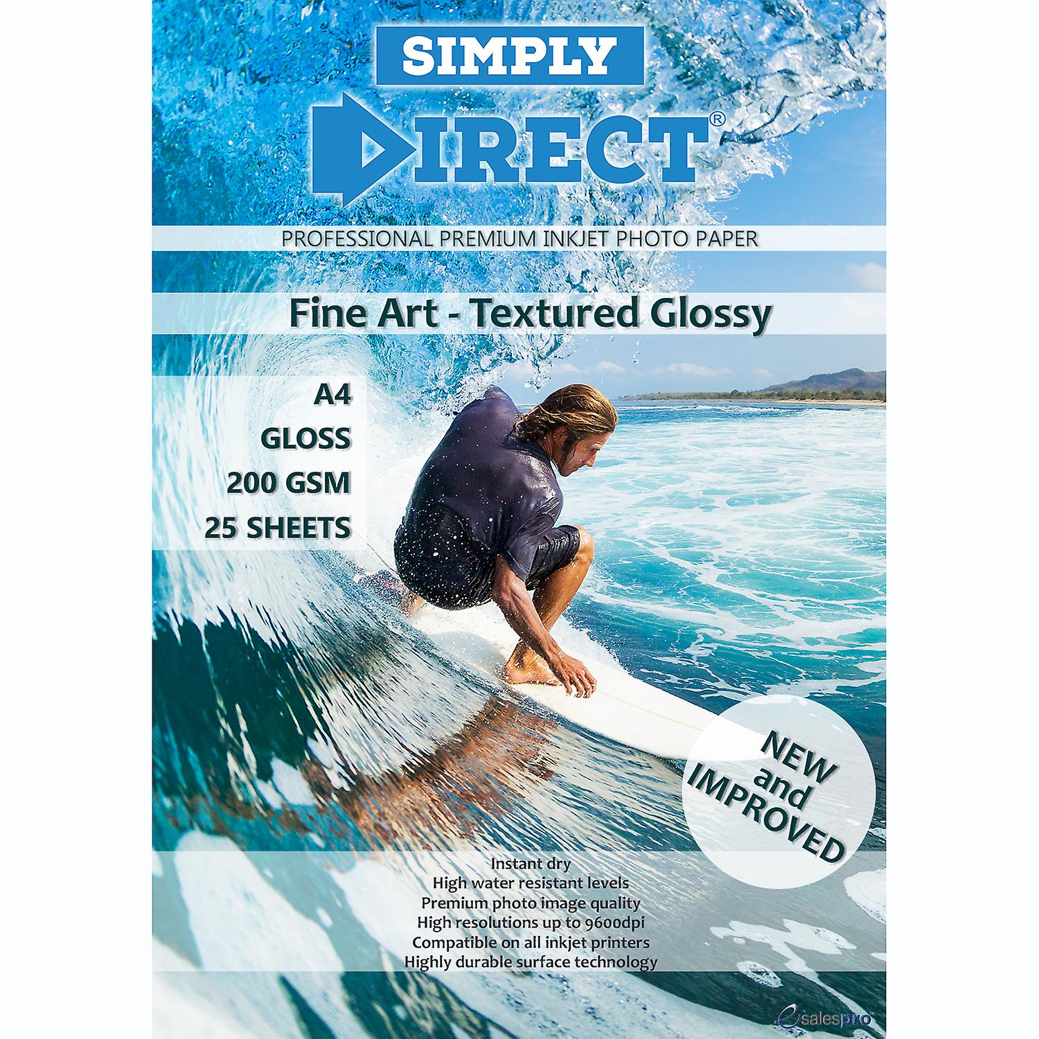 25 x Simply Direct A4 Textured Fine Art Gloss Photo Paper - 200gsm - Professional Premium Inkjet Paper